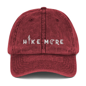 Hike More Flat Embroidery Vintage Cotton Twill Cap