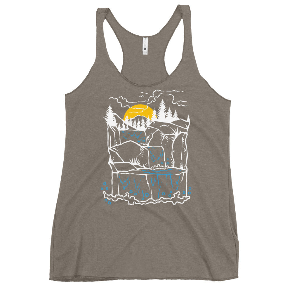waterfall illustration Women's Racerback Tank