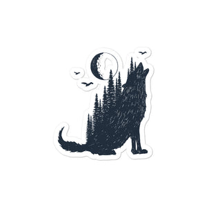 wolf howling stickers