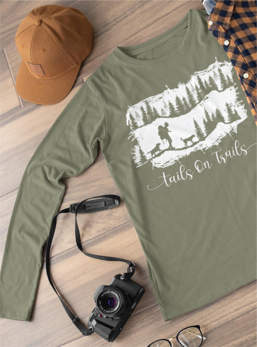 hiking with dog long sleeve tee