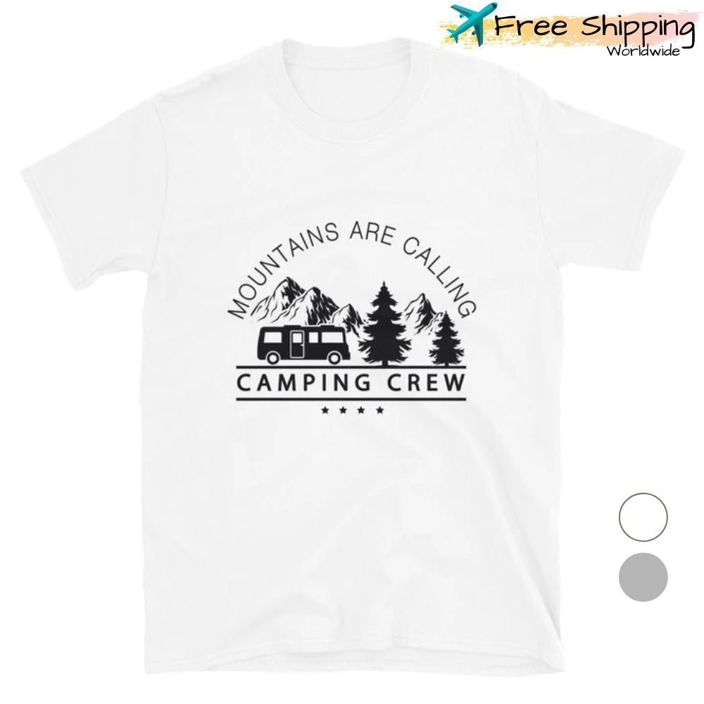 mountains calling camping crew t-shirt