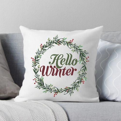 Hello Winter Throw Pillow
