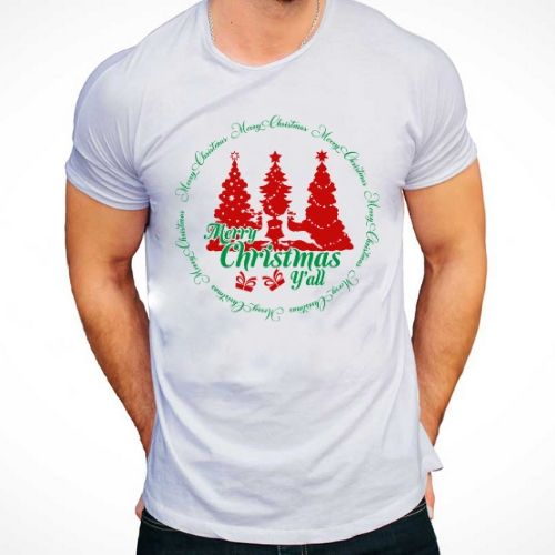 Merry Christmas Yall Reindeer T-Shirt for Men
