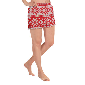 Red and White Ethnic Pattern Athletic Shorts for Women