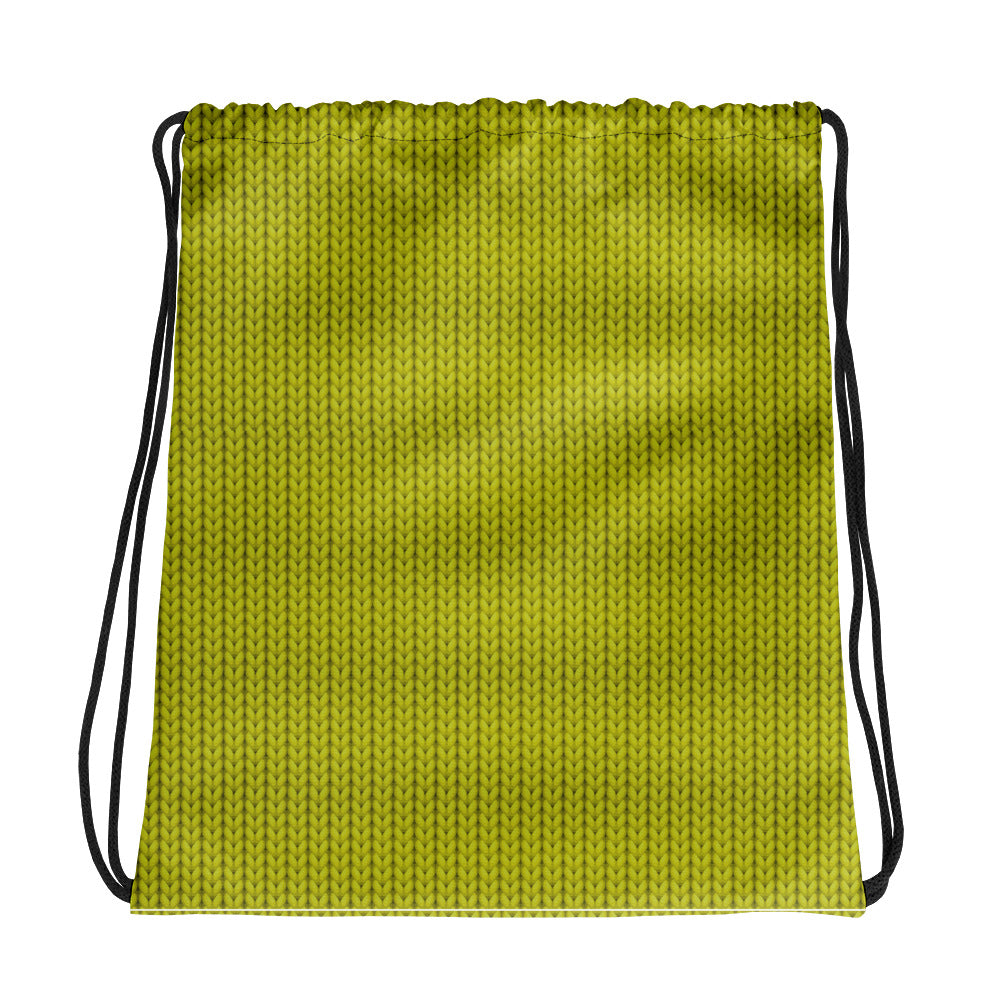 Green woolen Drawstring bag
