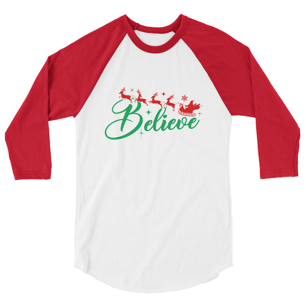 Red and white 3 4 sleeve raglan t shirt with believe reindeer santa christmas graphics