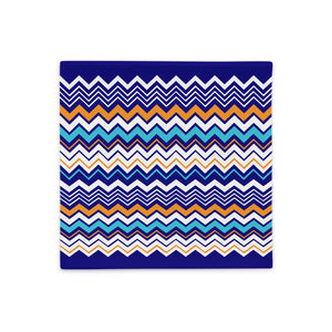 Blue Zigzag Abstract Throw Pillow Case