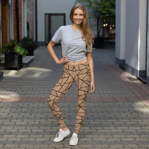 Women with Black and Nude Geometric Leggings Womens