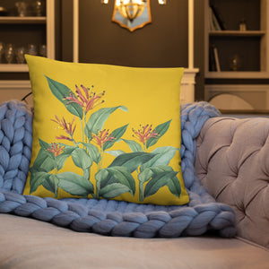 Yellow Floral Throw Pillow