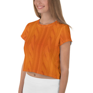 Orange Woolen Print All-Over Print Crop Tee