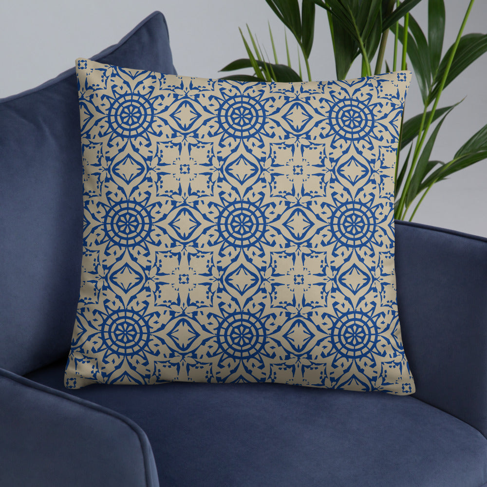 Seamless Pattern Blue Throw Pillow