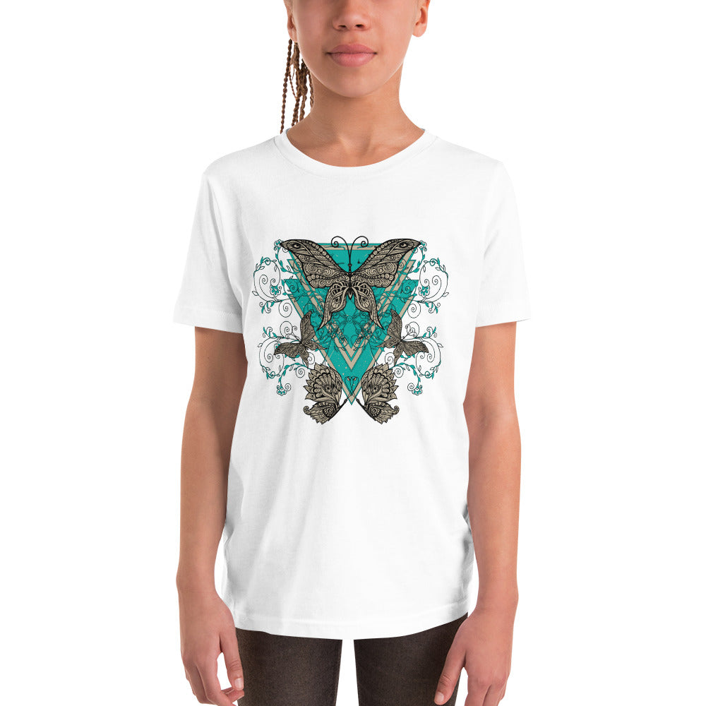 Butterflies White T-Shirts for Girls