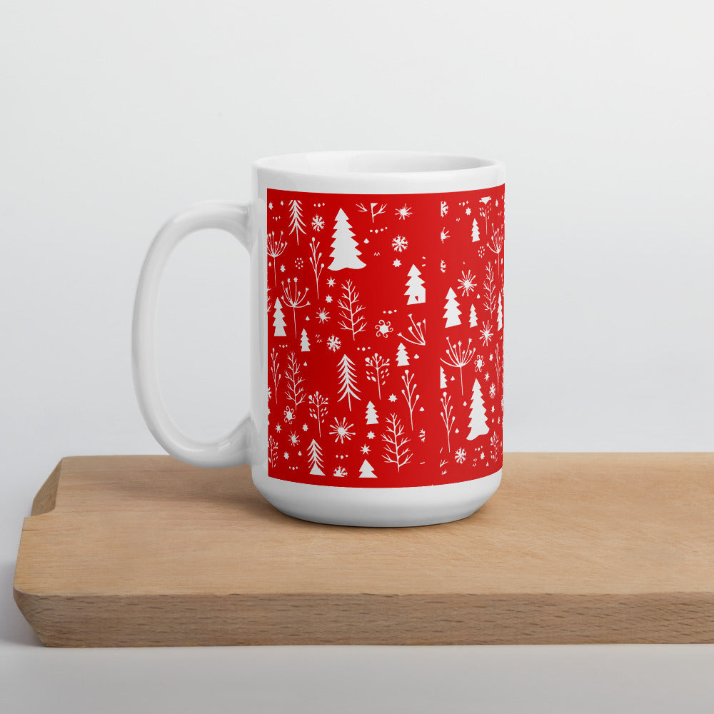 Red and white Christmas Tree Coffee Mug