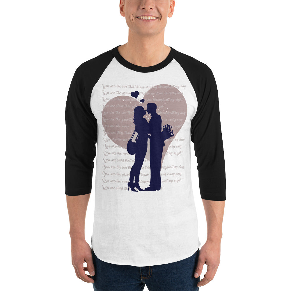 Couple Valentine's Day 3/4 sleeve raglan shirt