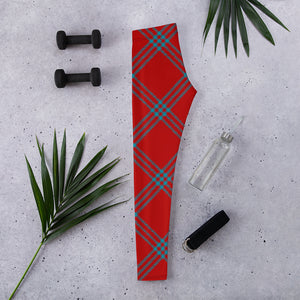 teal and Red Plaid Leggings for Women Mynkoo.com