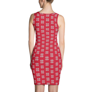 Red and Gray Snow Flakes Dress