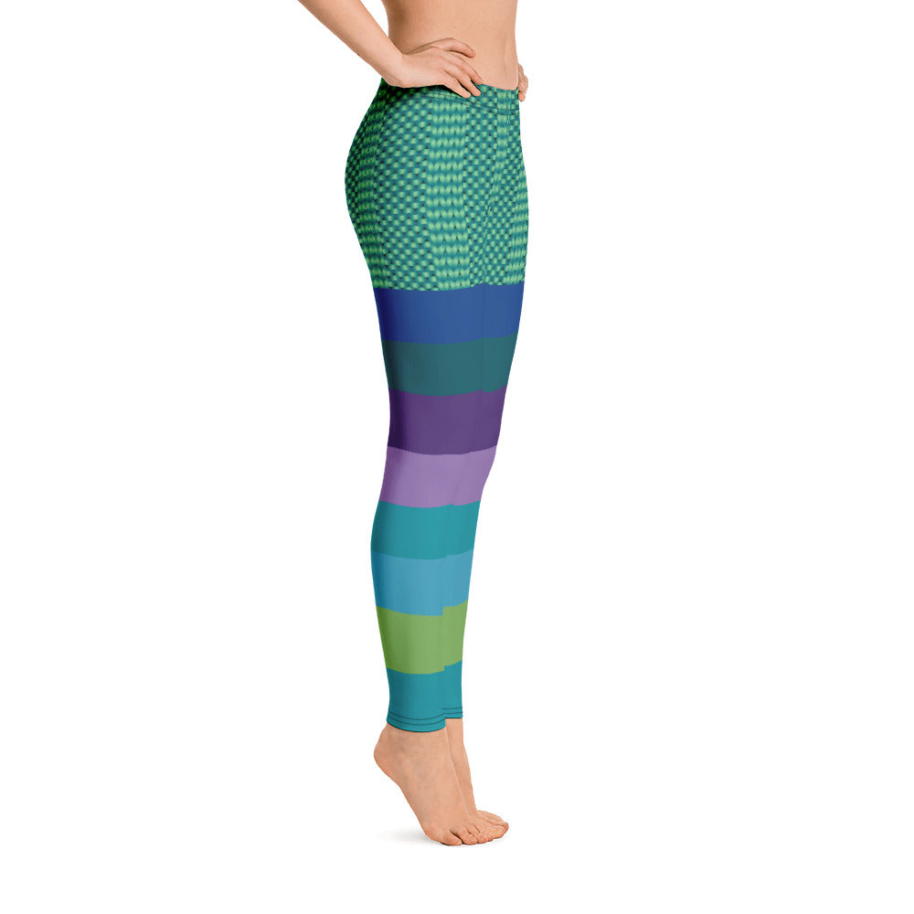 Green purple blue Stripe Leggings