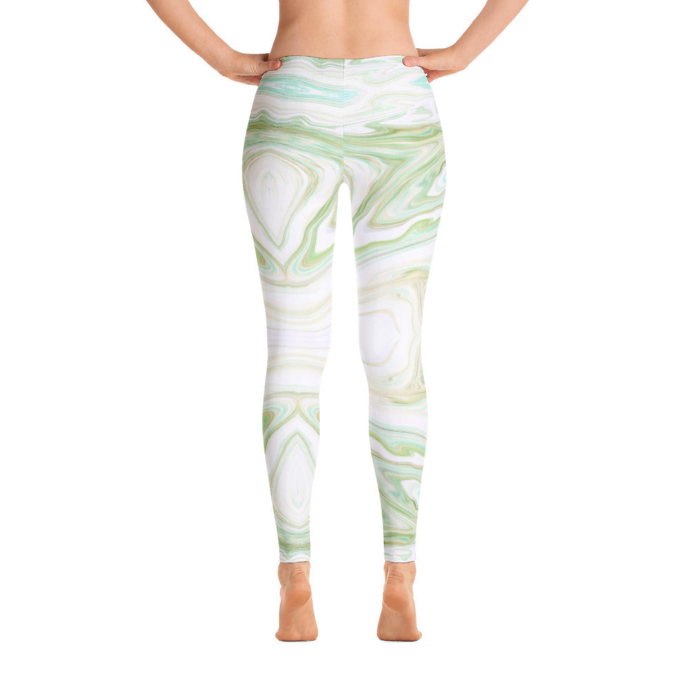 Green and White Marble Leggings Womens back
