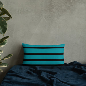 Teal and Black Double-sided Throw Pillow