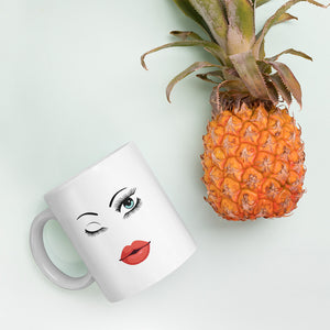 Winking Eye White Coffee Mug | Mynkoo.com pineapple