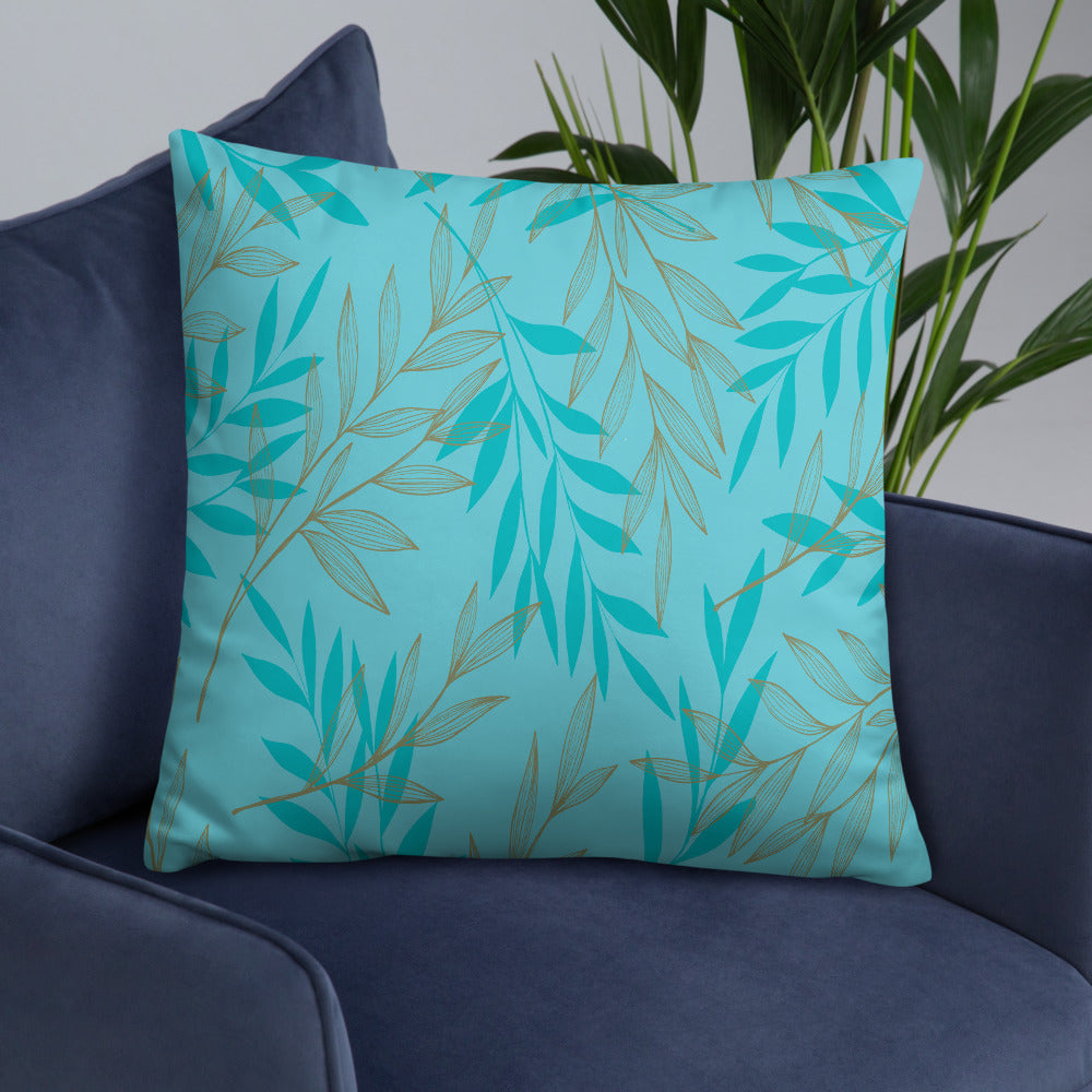 Blue Floral Leaf Throw Pillow