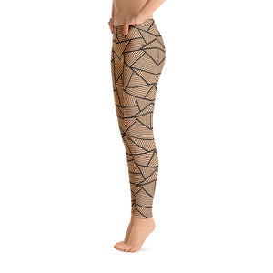 Black and Nude Geometric Leggings Womens Right