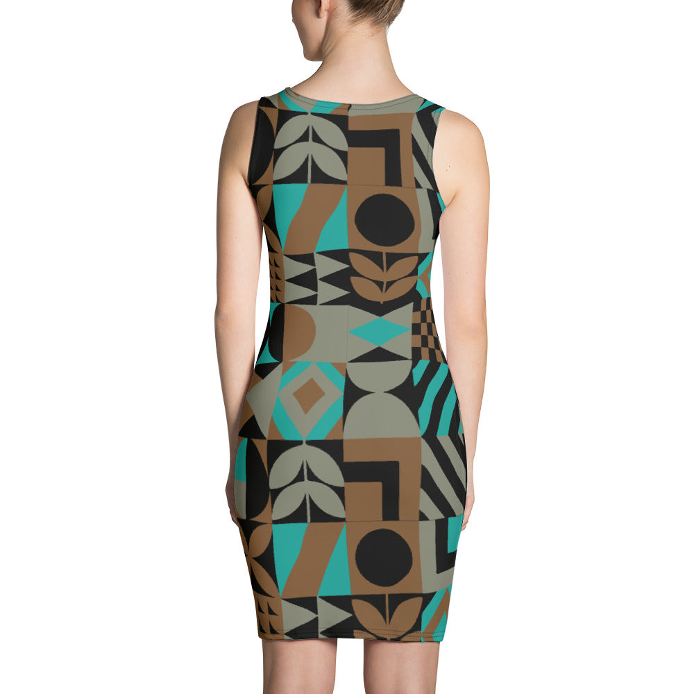 Black Brown and Teal abstract Dress