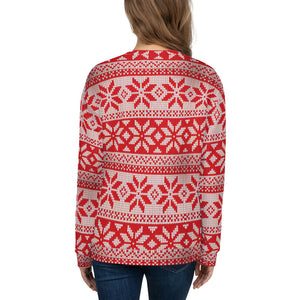 Red and White Christmas Pattern Unisex Sweatshirt