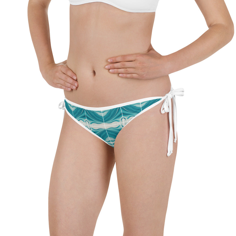 Teal and white Liquid Marble Bikini Bottom
