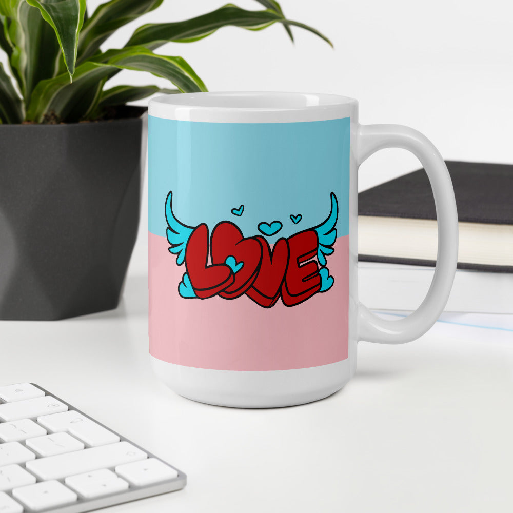 Pink and Blue Coffee Mug with Love Heart