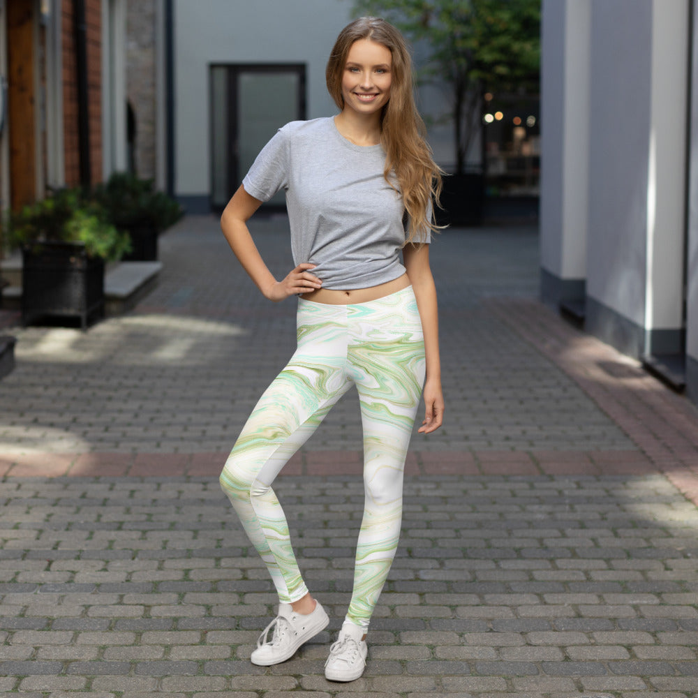 Girl in Green and White Marble Leggings Womens