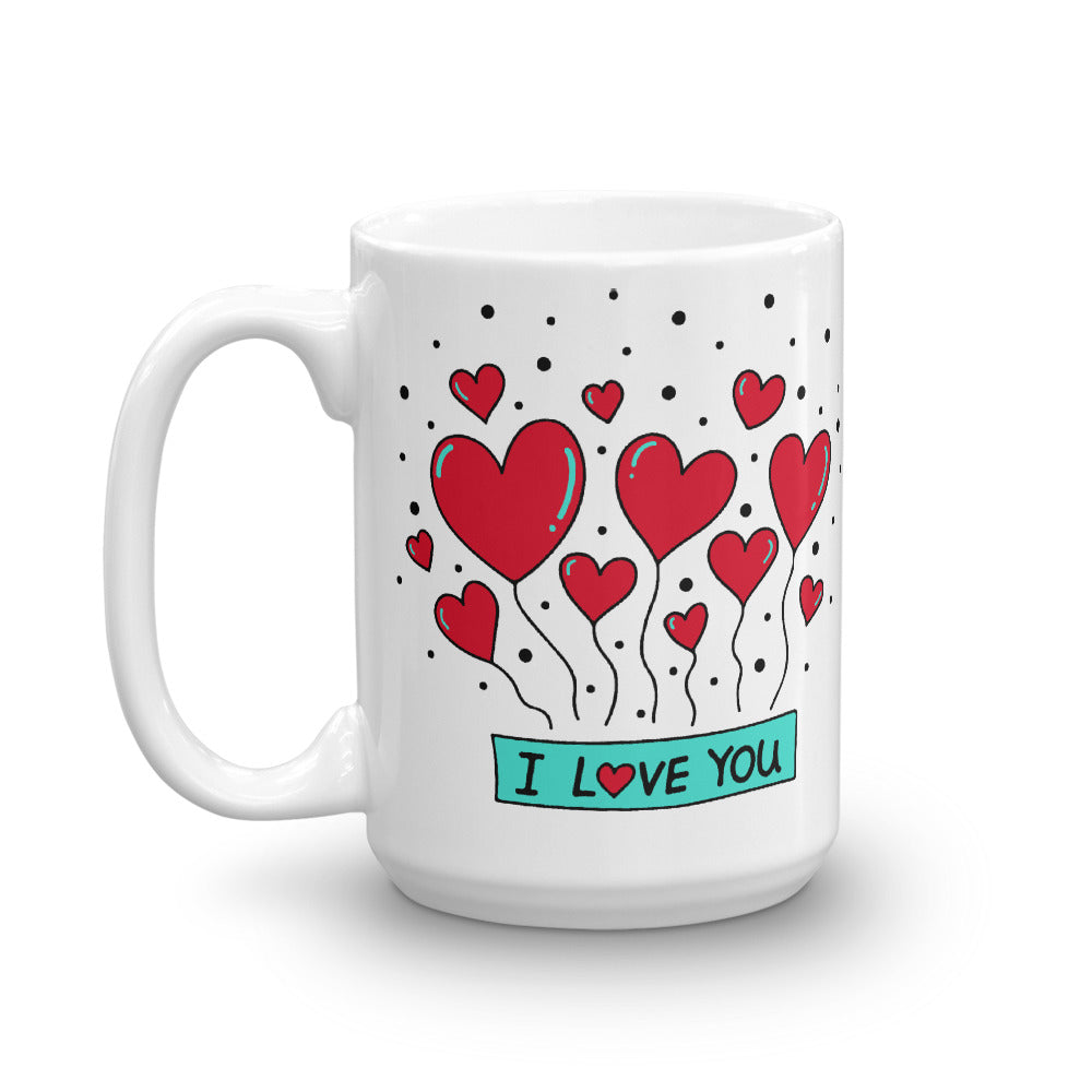 Valentines day special coffee mug with red hearts