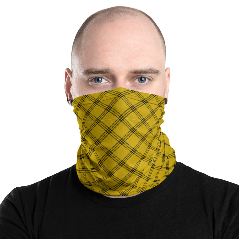 Yellow Plaid Neck Gaiter Face Mask