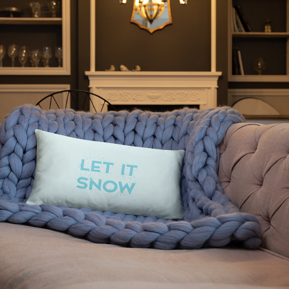 Let it snow Blue and Silver Marble Double-sided Pillow