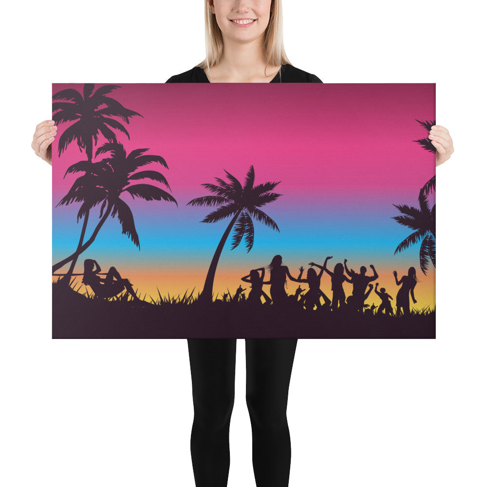 Sunset Beach Party Canvas