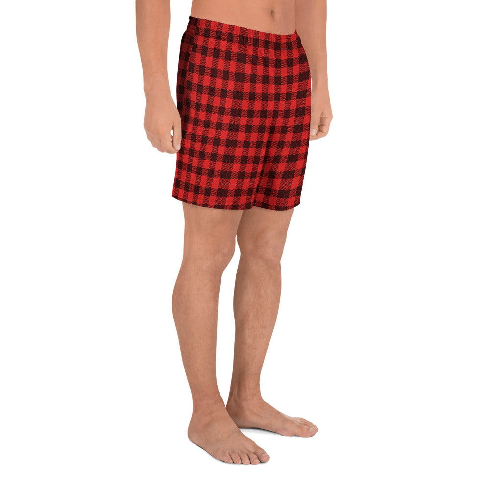 Red And Black Plaid Men's Athletic Long Shorts