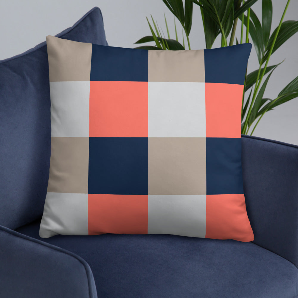 Blue Orange Check Throw Pillow