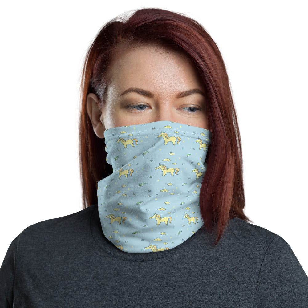Face Mask - Blue Yellow Unicorn Neck Gaiter