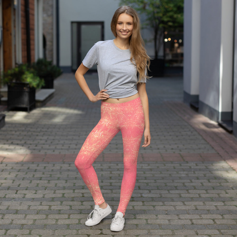 Pink and Gold Glittery Leggings