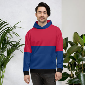 Magenta Navy Blue and Black Hoodie for Men