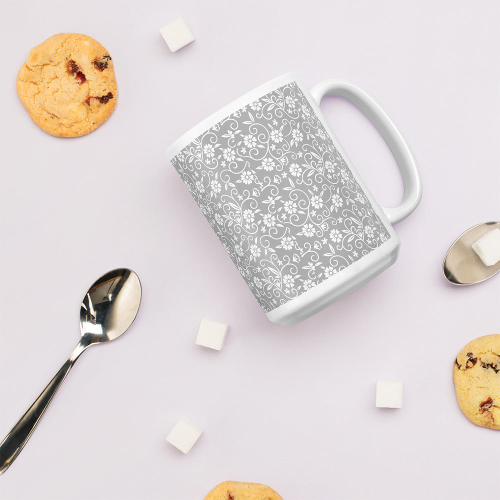 White Coffee Mug with Grey Floral Print
