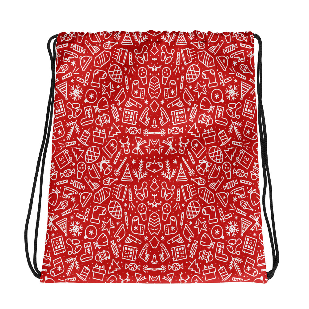 Merry Christmas Red Drawstring bag