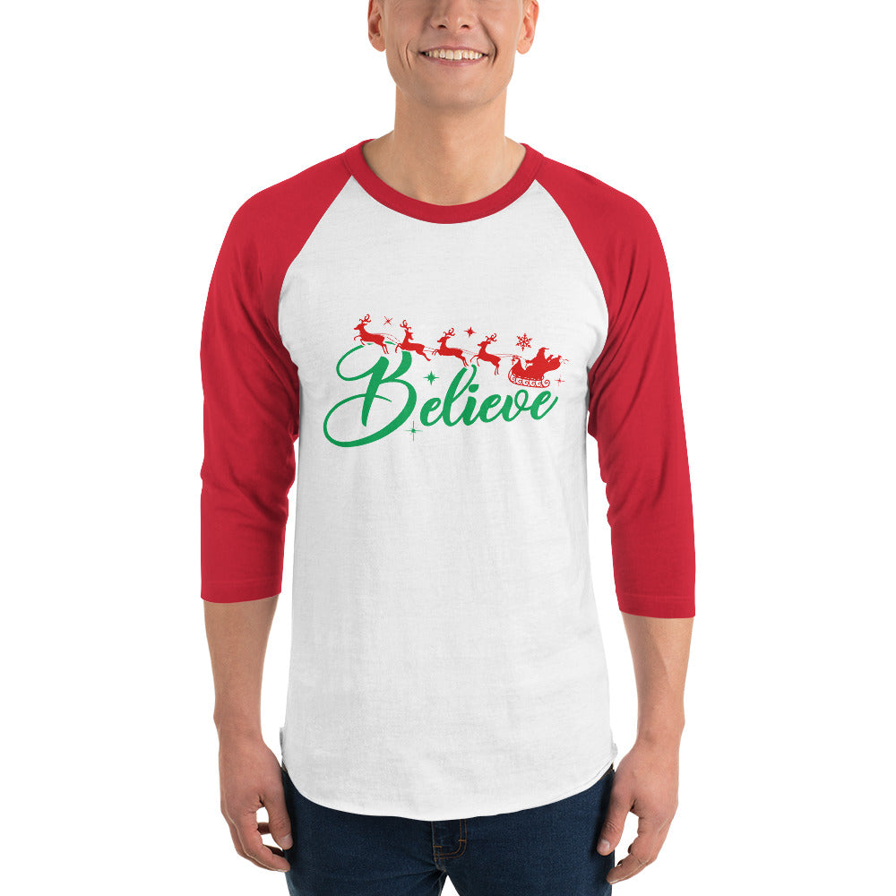 man wearing Red and white 3 4 sleeve raglan t shirt with believe reindeer santa christmas graphics