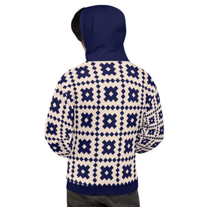 Navy Blue and Cream Geometric Unisex Hoodie
