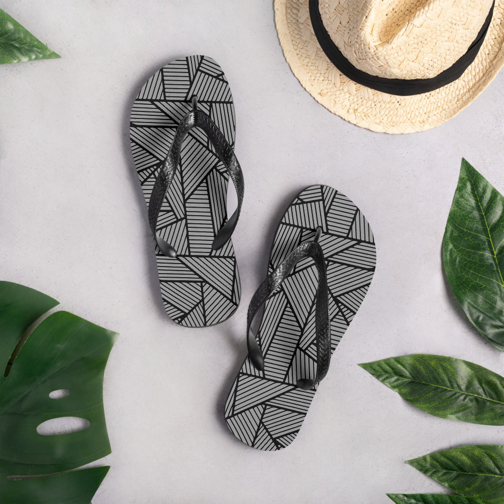 Black and Gray seamless Pattern Flip-Flops