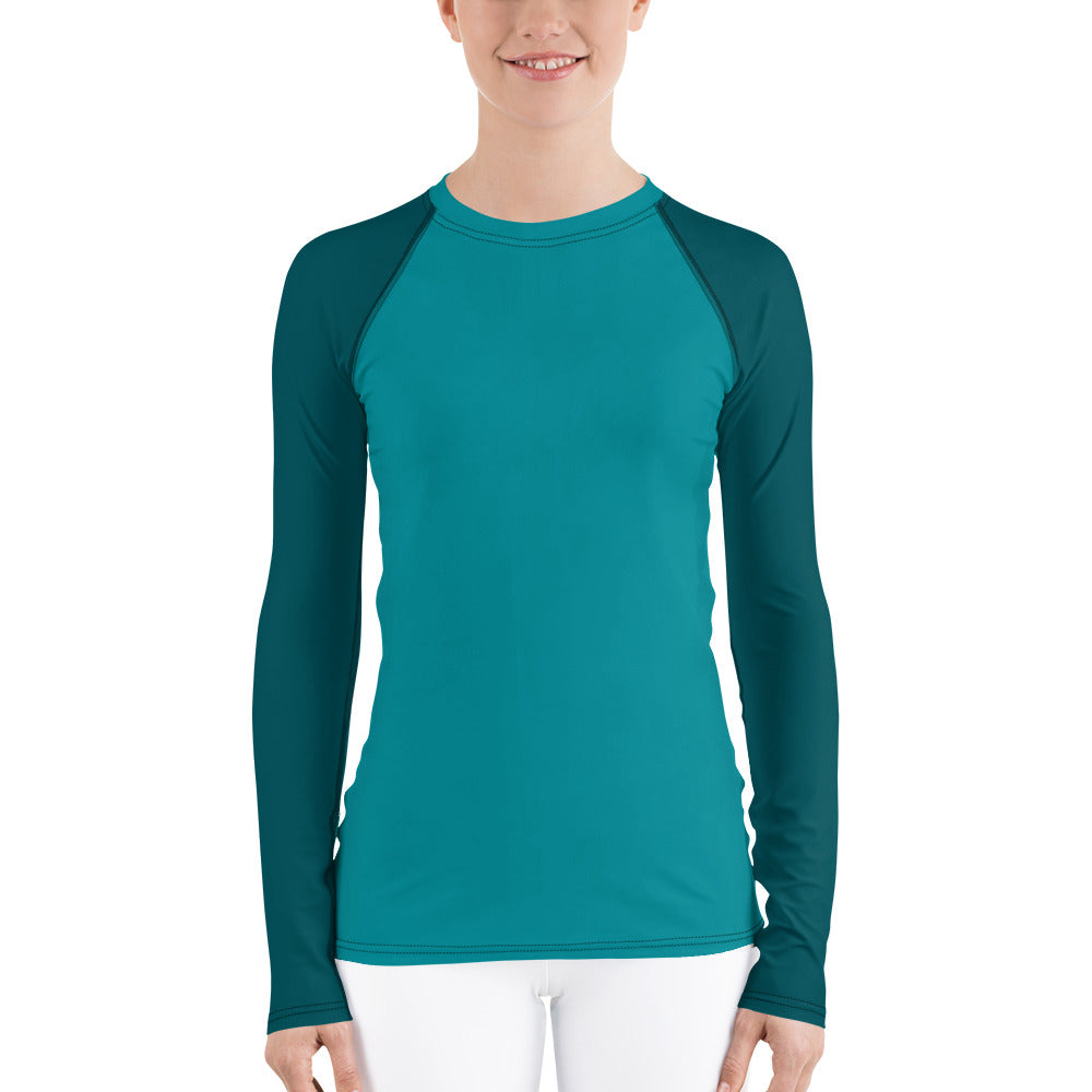 Teal Color Women's Rash Guard