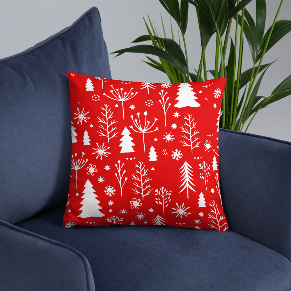 Christmas Tree Snow Flakes Throw Pillow