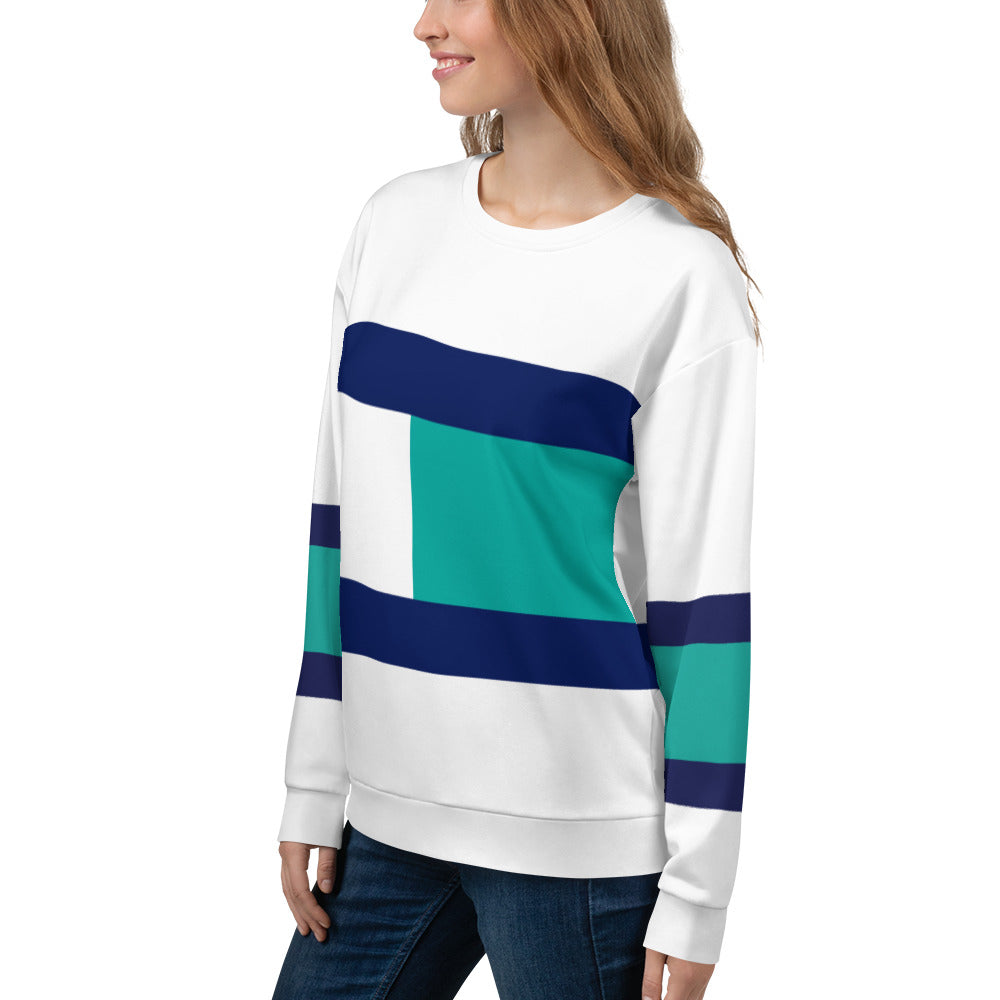 Blue, Turquoise and Black Sweatshirt for Women
