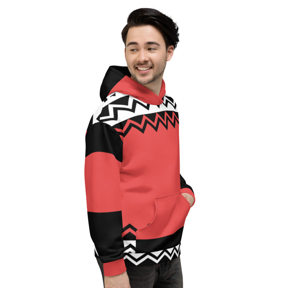 White Black and Coral Pink Color Hoodie for Men