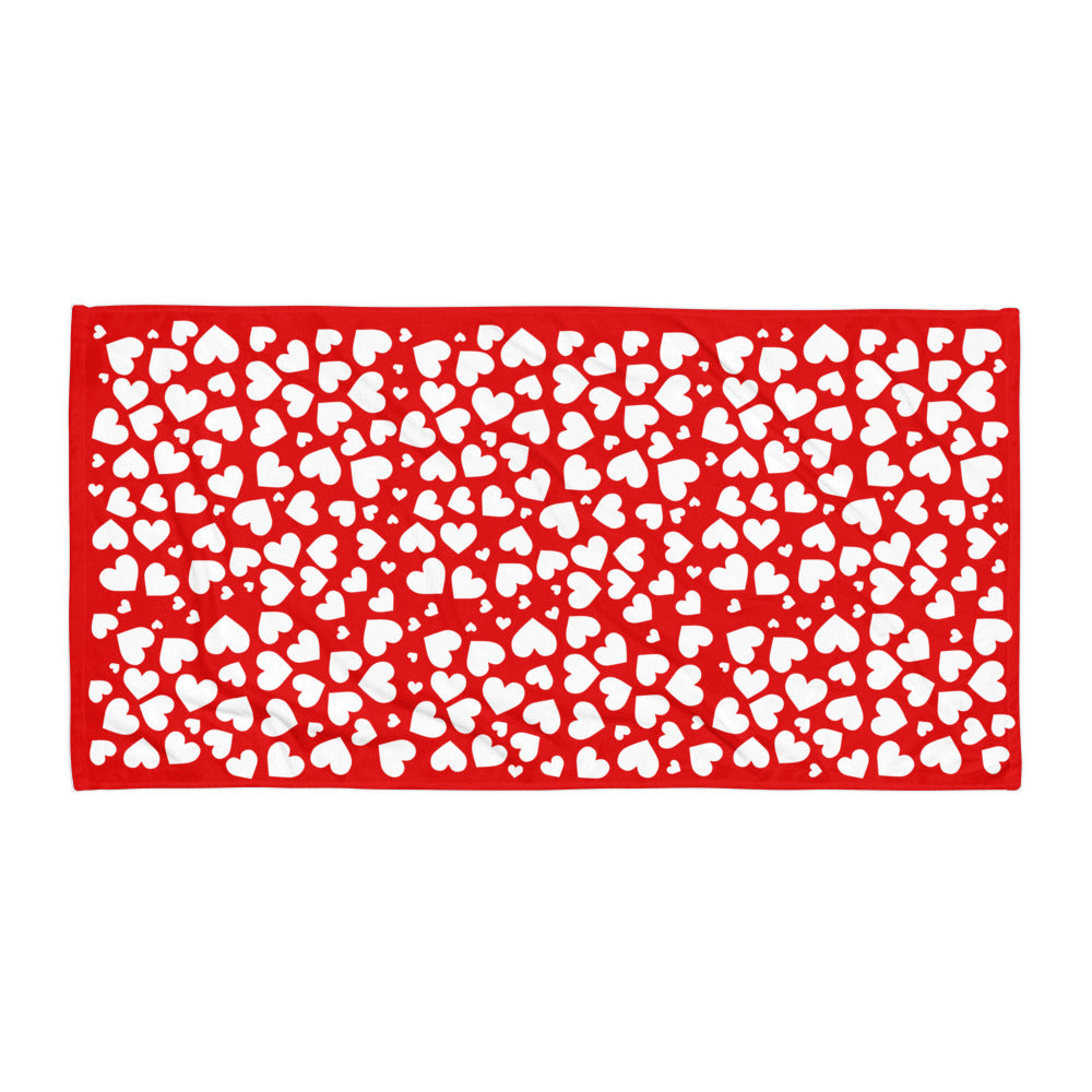 Red Little Hearts Super Soft Towel